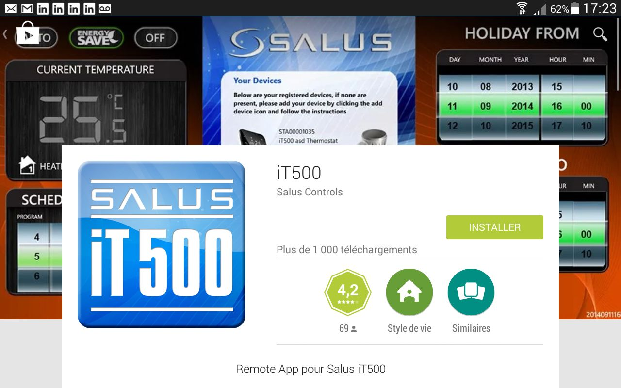 Ecran googleplay pourthermostat internet it500